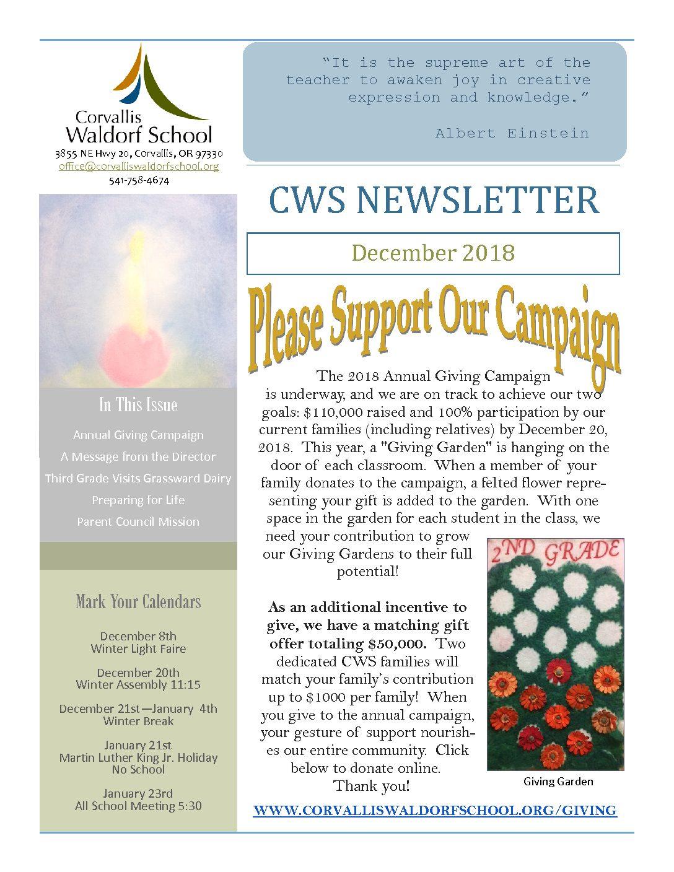 December 2018 - Corvallis Waldorf School